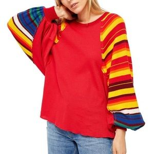 NWT Free People Rainbow Dreams Pullover Red Combo